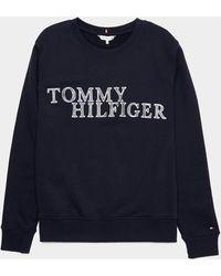 Tommy Hilfiger Woven Logo Sweatshirt Blue