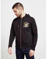 Versace Jeans - Foil Logo Full Zip Hoodie Black - Lyst