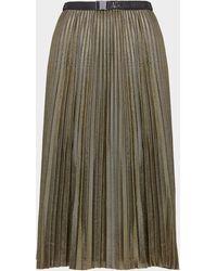 Armani Exchange Glitter Pleated Skirt - Metallic