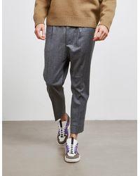 AMI Wool Carrot Pants Grey - Gray