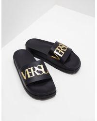 68efe40d5980 Love Moschino Mens Logo Strap Slides Black in Black for Men - Lyst