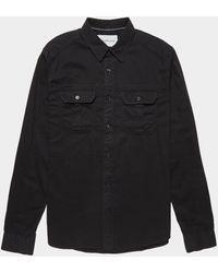 Calvin Klein Garment Dyed Twill Utility Shirt Black