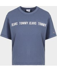 Tommy Hilfiger - Boxy Tape Cropped T-shirt Blue - Lyst