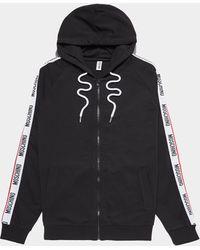 Moschino Arm Tape Zip Through Hoodie - Black