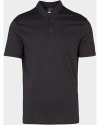 Armani Exchange Diamond Print Polo Shirt Black