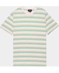A.P.C. Pastel Stripe Short Sleeve T-shirt - Green