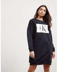 Calvin Klein - Womens Dena True Icon Sweatshirt Dress Black - Lyst