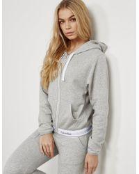 Calvin Klein Full Zip Hoodie Grey Marl - Gray