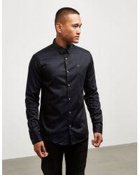 Emporio Armani - Mens Iridescent Long Sleeve Shirt Navy Blue - Lyst