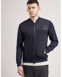 Armani | Mens Jersey Full Zip Light Jacket Navy | Lyst