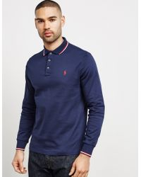 Polo Ralph Lauren - Mens Tipped Pima Long Sleeve Polo Shirt Navy Blue - Lyst
