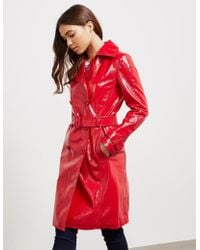 Armani Exchange Pu Trench Coat Red