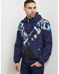 Versace Jeans - Mens Print Panel Hooded Jacket Navy Blue - Lyst