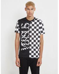 6992e199e5 Versus - Half Check Short Sleeve T-shirt - Online Exclusive Black - Lyst