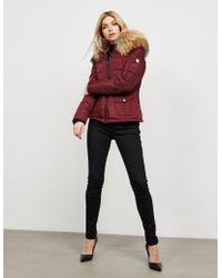 FROCCELLA - Womens Big Fur Padded Jacket Red - Lyst