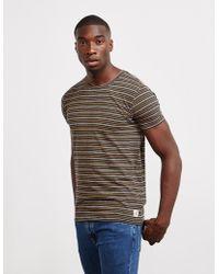 Nudie Jeans - Mens Anders Stripe Short Sleeve T-shirt Navy Blue - Lyst