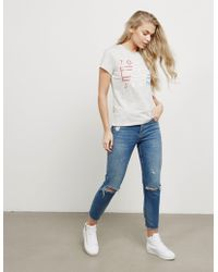 Tommy Hilfiger - Womens Clean Flag Short Sleeve T-shirt Grey - Lyst