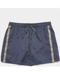 Emporio Armani Logo Tape Swim Shorts Navy Blue