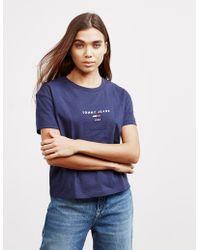 0d7b0d9b80e2 Tommy Hilfiger Flag Short Sleeve T-shirt Navy Blue in Blue - Lyst