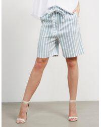 BOSS Womens Sashorty Stripe Shorts - Online Exclusive Blue