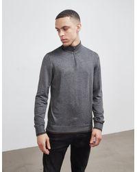 Emporio Armani Tipped Half Zip Knit Jumper Grey