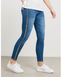 True Religion Womens Rhinestone Skinny Runway Leggings Blue