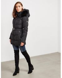 FROCCELLA Womens Belted Padded Jacket Black