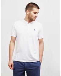 Polo Ralph Lauren Plain Grandad Collar Short Sleeve Polo Shirt White