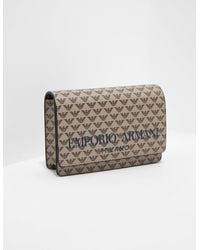 Emporio Armani Logo Print Shoulder Bag - Brown
