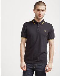Fred Perry - Mens Slim Twin Tipped Short Sleeve Polo Shirt Black - Lyst