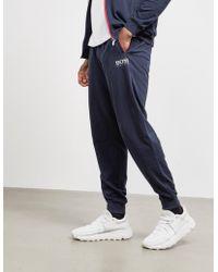 BOSS Authentic Cuffed Fleece Trousers Navy Blue