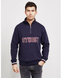 Stussy - Half Zip Sweatshirt Navy Blue - Lyst
