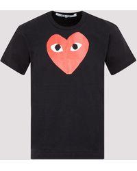 Comme des Garçons Heart Print Cotton T-shirt S - Black