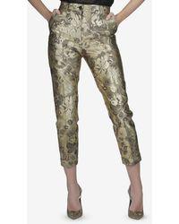 Dolce & Gabbana Silk-blend Floral Brocade Trousers - Metallic