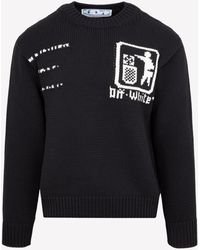 Off-White c/o Virgil Abloh Take Care Chunky Knit Jumper With Embroidery - Black
