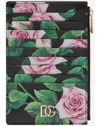 Dolce & Gabbana Vertical Dauphine Calfskin Credit Card Holder With Tropical Rose Print - Green