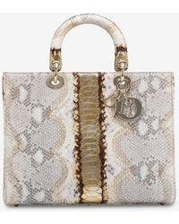 Dior Lady Large Shiny Python Leather Handbag Onesize - Natural