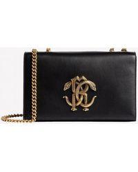 Roberto Cavalli Medium Mirror Snake Shoulder Bag In Calf Leather - Black