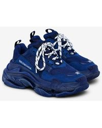 Balenciaga Triple S Airsole Leather And Mesh Sneakers - Blue