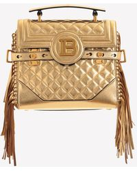 Balmain Small B-buzz 23 Quilted Leather Top Handle Bag With Fringe - Metallic