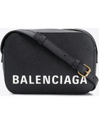 Balenciaga Xs Ville Camera Bag In Calfskin - Black