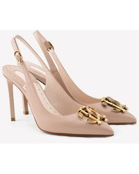 Roberto Cavalli Mirror Snake 90 Slingback Court Shoes In Calfskin - Natural