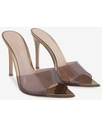Gianvito Rossi Elle 105 Metallic Leather Mules With Plexi Band