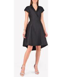 Halston Faille Silk Tuxedo Midi Dress - Black