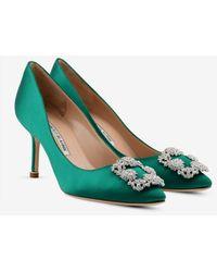 Manolo Blahnik Hangisi 70 Emerald Satin Pumps - Green