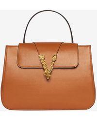 Versace Virtus Top Handle Leather Bag - Brown
