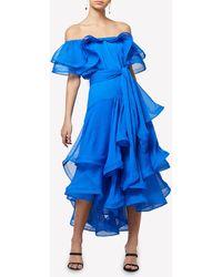 Elliatt Constance Off-shoulder Ruffled Midi Dress S - Blue