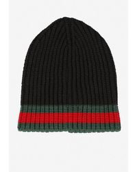 Gucci Wool Beanie With Signature Web Detail - Black