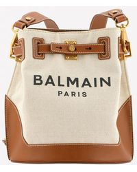 Balmain B-belted 27 Canvas-leather Bucket Bag - Brown
