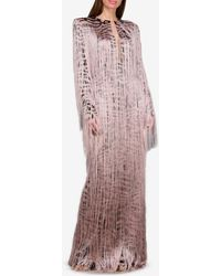 Tom Ford Silk-stretch Tiger Print Gown With All-over Fringe - Pink